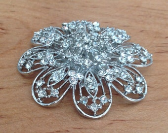 Rhinestone Flower Brooch | Fashion Brooch | Rhinestone Pin | Flower Pin | Silver Rhinestone Flower Brooch