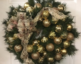 Front Door Wreath, Farmhouse Chic, Elegant Christmas Decor, Tradition Holidays, Bling, Bling, Golden, Winter Wreath, Home For The Holidays