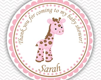 Baby Giraffe Pink - Personalized Stickers, Party Favor Tags, Thank You Tags, Gift Tags, Address labels, Baby Shower