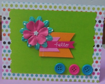 Bright Hello Greeting Card with Paper Flower