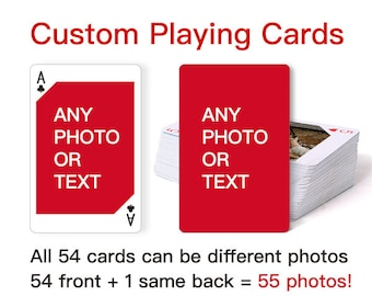 Custom Playing Cards - Personalized Playing Cards, Deck of cards, Poker, Card games, Wedding Gift, Graduation Gift, Birthday Gift, Baby Gift