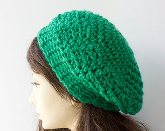 Bright Green Crocheted Beret,   Chunky  Hat,  Over Sized Slouchy Beanie, Fall, Winter, Spring, Ready to Ship