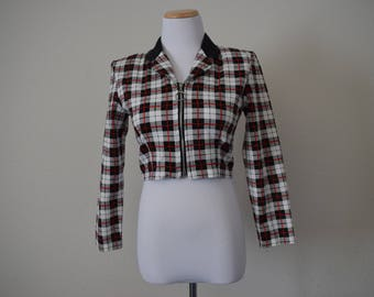 FREE usa SHIPPING Vintage Women's cropped plaid light jacket/ hipster/ 1990s/ 90210/ size 5