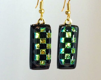 Art Glass Dangling Earrings Dichroic Green and Black Squares