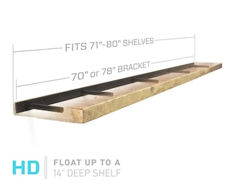 "Floating Shelf Bracket for 72"" to 84"" Long Floating Shelf - HEAVY DUTY - Hardware Only (US Patent 9,861,198)"