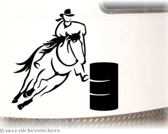 "Barrel Racing Horse Decal | 12"" tall x 13.25"" wide 
