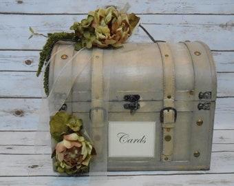 Large Wedding Card Trunk / Rustic Wedding Card Box / Wedding Card Holder / Wedding Decorations / Grey And Ivory Vintage Style Wedding Box
