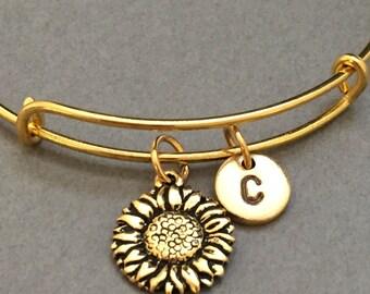 Sunflower bangle, sunflower charm bracelet, expandable bangle, charm bangle, personalized bracelet, initial, monogram