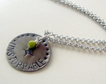 Unstoppable necklace | quote necklace | stamped necklace | charm pendant | word necklace | motivational necklace | stamped word pendant