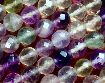 """Fluorite Gemstone. Purple  Fluorite. Faceted Round Bead. Hand Cut, 6mm Or 8mm, 15"""" strand, 1mm hole, one strand"""
