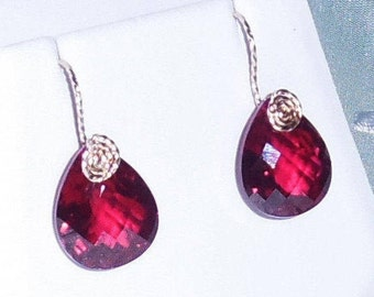 26cts Natural Pear CKB cut Red Topaz gemstones, 14kt yellow gold Pierced Earrings