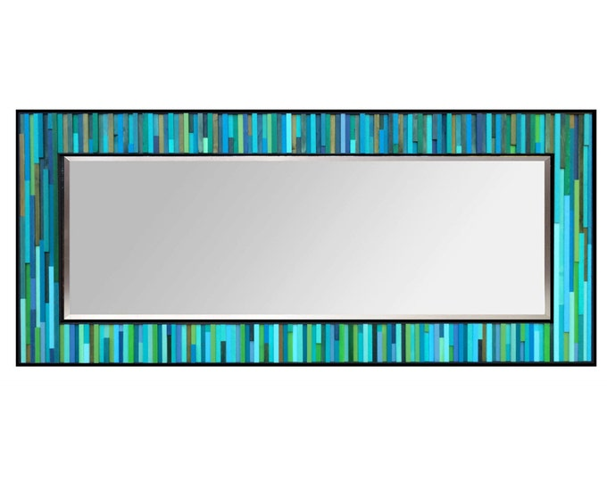 "Modern Wood Leaner Floor Mirror 32x78"" - Water Lily Reflection - Wood Mirror in Blues and Greens - Reclaimed Wood Art -Abstract Wood Art"