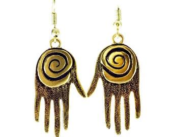 Bronze Spiral Hand Earrings Tsalagi Cherokee Made