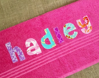 Personalized Towel for girls or boys - Birthday gift, Bath Towel, Swim Towel, Beach Towel, Nap Mat, Party Favors - by Green Apple Bouti