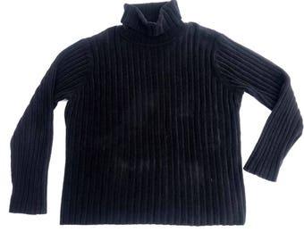 Black Ribbed Turleneck Sweater Fuzzy Sweater