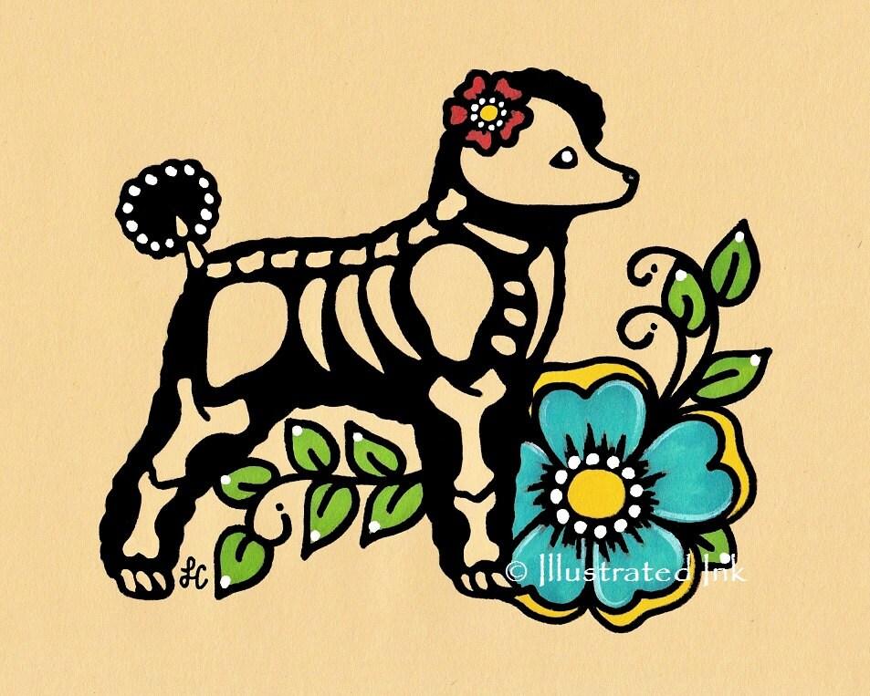Dia de los Muertos Dog POODLE Day of the Dead Art Print 5 x 7