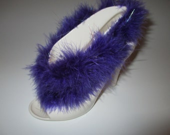 Miss Purple.Yes! It's A  Ceramic SHOES! ! Brilliant  White and Faux Fur.