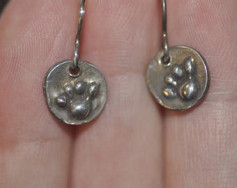 Cute Wax Carved Paw Print Sterling Silver Dangle Earrings