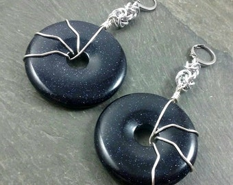Decorative Ear Weights - Glass Donuts - Glass Earrings for Stretched Lobes - Blue Goldstone - Earrings for Tunnels