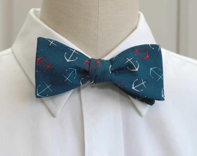Men's Bow Tie, dark teal with red/white/aqua anchors, nautical bow tie, sailor gift bow tie, sailor's wedding bow tie, ocean bow tie,