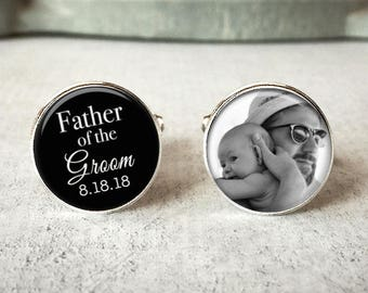 Father Of The Groom Cufflinks, Personalized Cufflinks, Wedding Cuff links, Custom Cufflinks, Photo Cufflinks, Wedding Keepsake, Gift For Dad