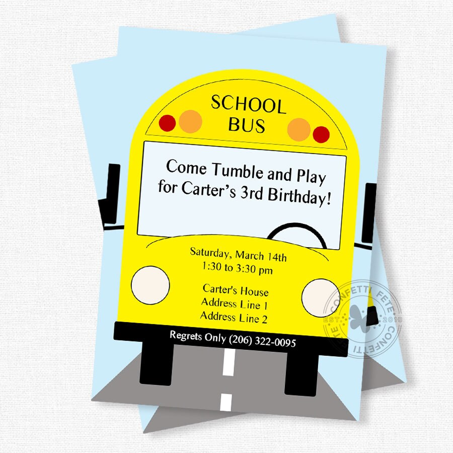 School Bus Invitation Bus Birthday Invitation Wheels On The