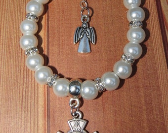 Handmade Glass Pearl First Holy Communion Bracelet