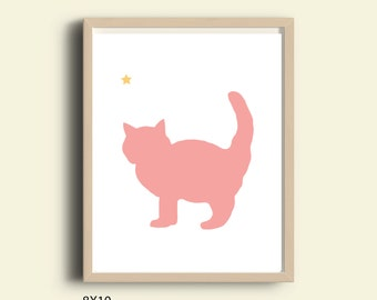 Nursery cat printable, nursery printable, nursery animal poster, nursery wall art decor, pink cat print, art printable, baby girl decor,