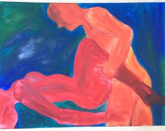 NightOne, original oil painting, erotic art