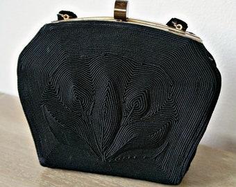 1940's Corde Handbag Black Evening Purse Hand Held Bag Genuine Corde