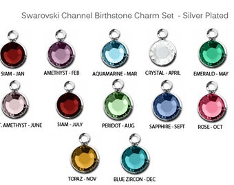 120 pcs Swarovski Birthstone Channel Charms Silver Plated, swarovski birthstone crystal charms 6mm Stone- CC6S-Set120 swarovski birthstones