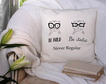 Never Regular Square Pillow (crazy cat lady, pillow, cats, gifts for her, cat lady, cat lover, funny, humour, cat, animal, black and white)
