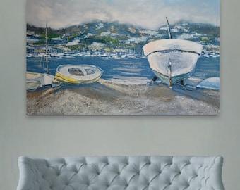 Sunset, Oil painting, Original canvas painting, Seascape Painting, Wall Art, Ocean Art, Handmade