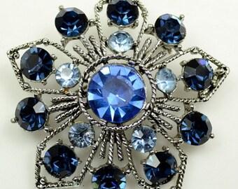 Weiss© Three-color Blue Rhinestone Star-shaped Pin