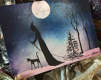 5x7 One Art Print from my Original Painting Cat Victorian Witchcraft Full Moon Witch Halloween Folk Yule Solstice Christmas Terri Foss