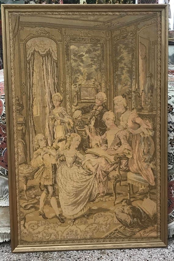 "3'3"" x 5' Antique French Tapestry with Vintage Frame - 1930s"