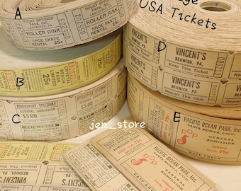 Vintage Old Carnival Tickets USA Rare - Collage and Mixed Media, Vintage Paper Ephemera