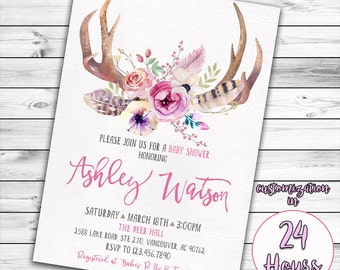 Antler Baby Shower Invitation, Deer Baby Shower, Girl Baby Shower Invitation, Woodland Baby Shower, Boho, Oh Deer, Baby Girl, Tribal, Pink