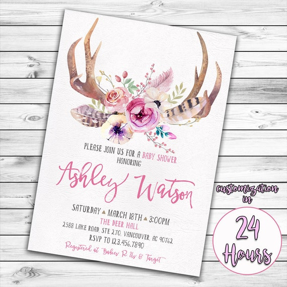 Antler Baby Shower Invitation Deer Baby Shower Girl Baby