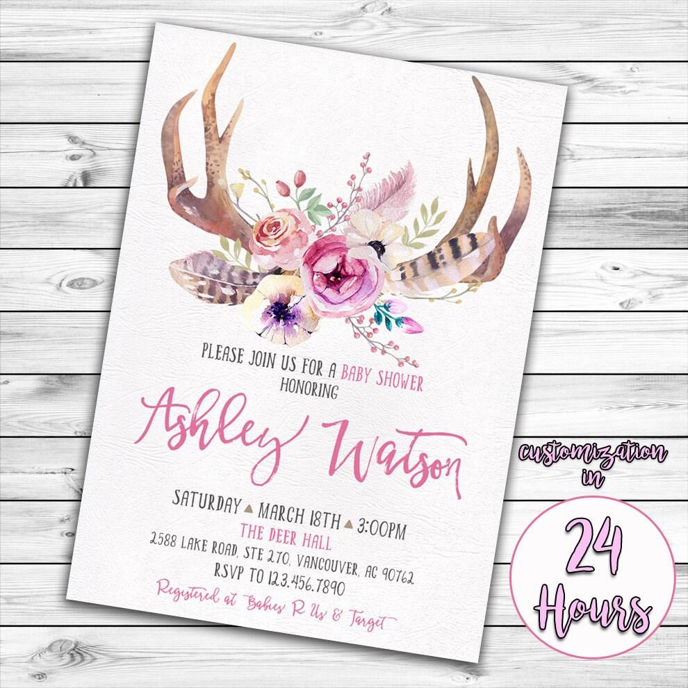 Antler Baby Shower Invitation Deer Baby Shower Girl Baby