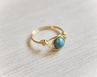 Gold wire ring, gold ring, turquoise gemstone ring, gemstone wire ring, blue stone ring, custom wire ring, simple gold ring, gold band ring