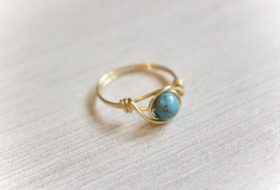 Golddraht Ring Goldring Türkis Edelstein-Ring