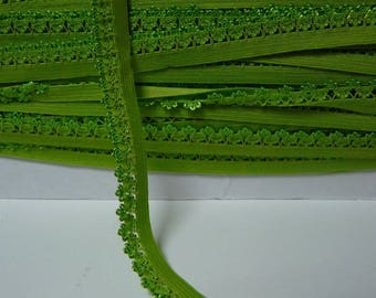 Apple lace 14 mm Green picot edge elastic Ribbon by the yard