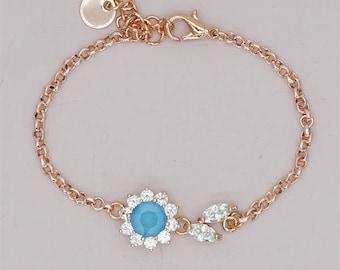 Swarovski Blue Crystal Bracelet, Rose gold Bracelet Wedding Jewelry Delicate Bracelet Blue Bridesmaid Gift Something Blue halo bracelet
