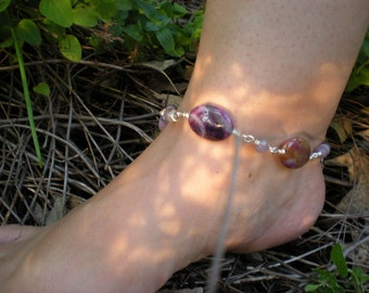 Running Wild anklet, sugalite, lilac stone, sterling silver, OOAK