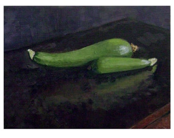 Original Framed Oil Painting, Still Life with Zucchini