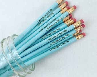 I love you and i like you 6 engraved pencils in baby blue. valentine's day.