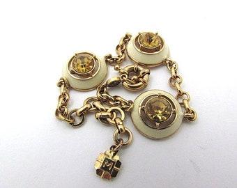 Vintage Monet White Enamel Citrine Glass Bracelet