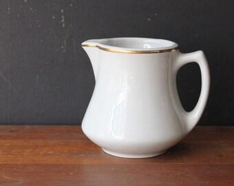 Vintage White Ironstone Creamer / Lamberton Sterling China / Small Pitcher