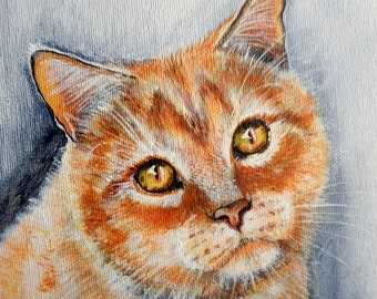 "Custom Portrait closeup portrait  Traditional Style on Canvas 7.9"" "" Cat"" MADE to ORDER Art  Animals Pets  ""CATS """